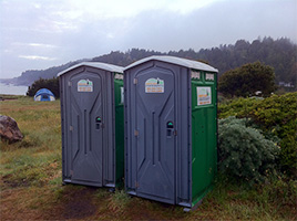 two portable toilets